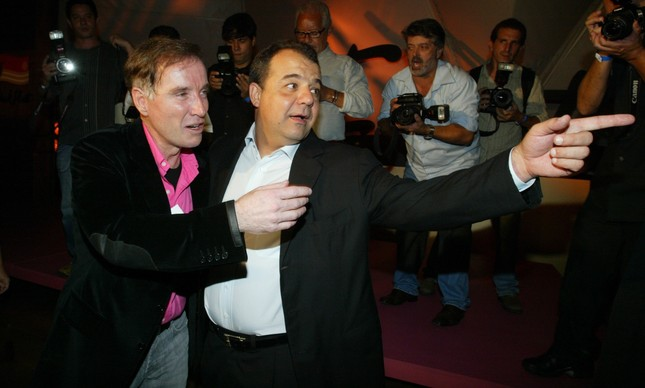 Eike e Cabral na inauguração do iate Pink Fleet, em 2007
