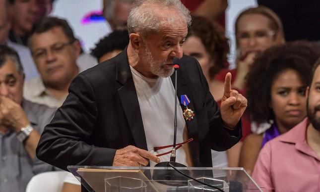 O ex-presidente Lula no Congresso Nacional do PT
