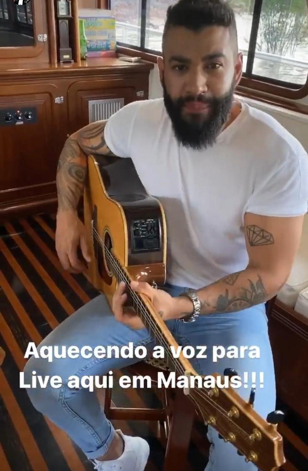 Gusttavo Lima mostrou preparativos em suas redes sociais — Foto: Reprodução/ Instagram