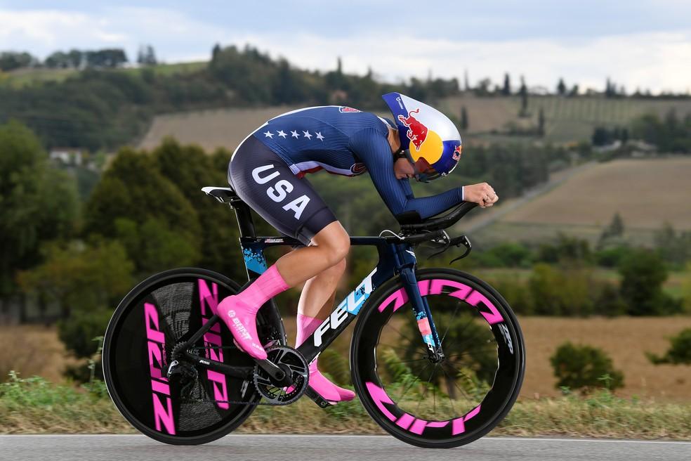 Chloé Dygert no percurso do Mundial de Ciclismo Estrada na Itália — Foto: Getty Images