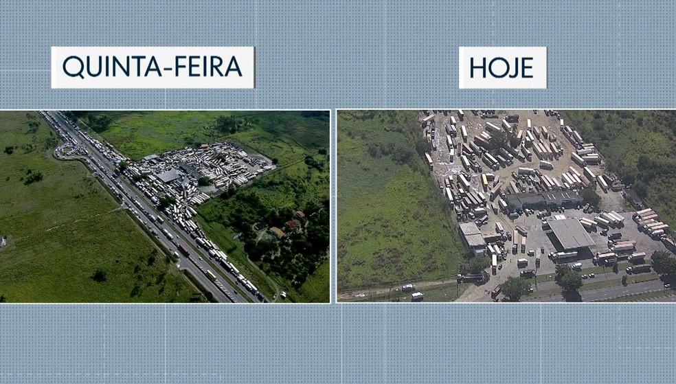Grande parte dos caminhoneiros deixaram um posto em Seropédica (Foto: Reprodução / TV Globo)