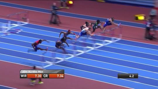Gabriel Constantino fica em sexto na final dos 60m com barreiras do Mundial Indoor