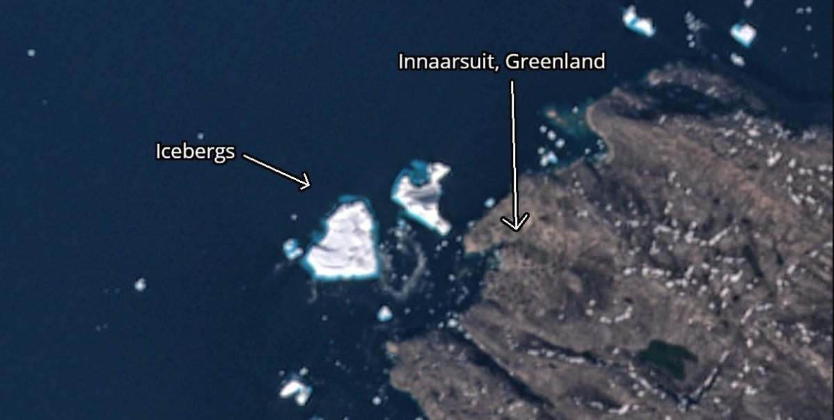 Comparação das dimensões do iceberg com a vila  (Foto: Reprodução/ Antti Lipponen )