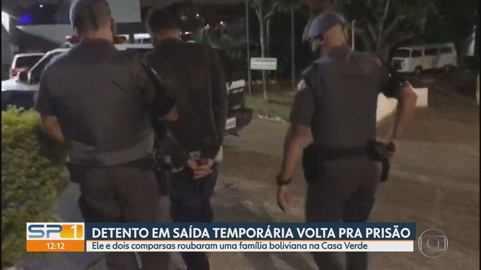 Detento em saída temporária assalta casa na Zona Norte e volta para prisão — Foto: Reprodução/TV Globo