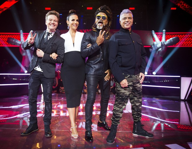Michel Teló, Ivete Sangalo, Carlinhos Brown e Lulu Santos no The Voice Brasil (Foto: TV Globo/João Miguel Júnior)
