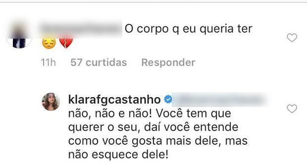 Klara Castanho responde comentários (Foto: Reprodução/Instagram)