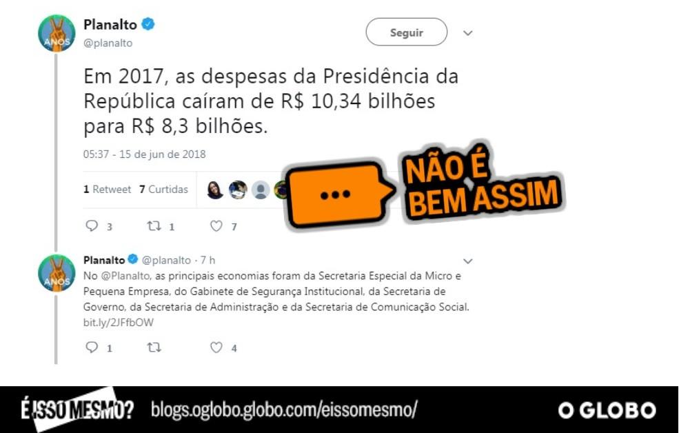 Publicação do Planalto no Twitter