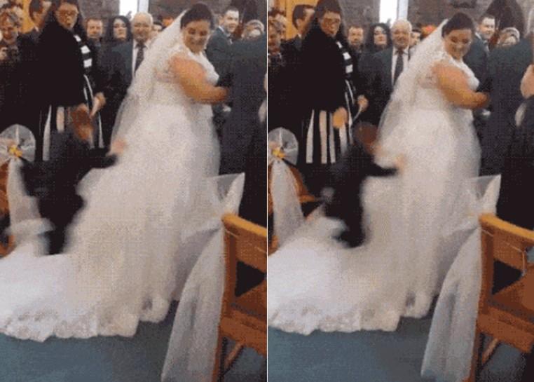 Menino surpreendeu convidados ao saltar no vestido de noiva na Irlanda (Foto: Reprodução/Imgur/Usernumbersix)