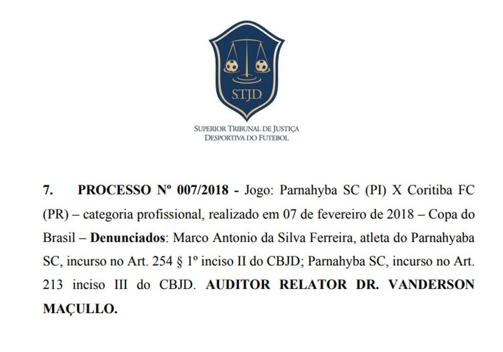 STJD julga Parnahyba e Marcos Gasolina (Foto: Reprodução/STJD)