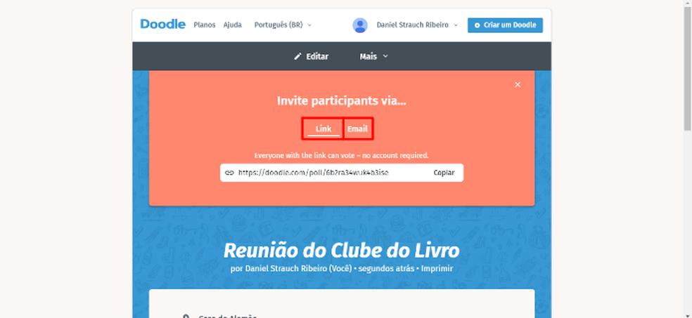 Copiați linkul de doodle sau trimiteți invitații de contact direct prin e-mail - Foto: Redare / Daniel Ribeiro
