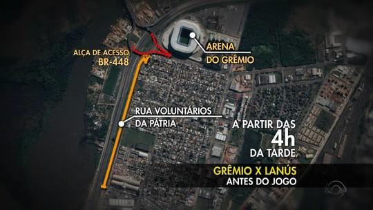 Trânsito terá mudanças e transporte será reforçado para jogo entre Grêmio e Lanús; saiba mais