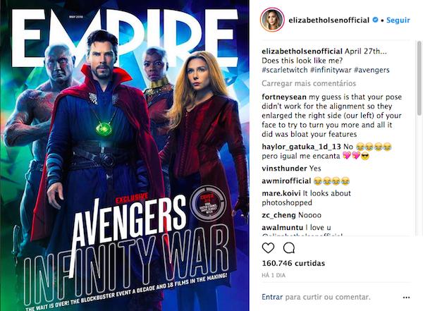 A crítica pública feita pela atriz Elizabeth Olsen à capa da revista Empire em que seu rosto aparece modificado (Foto: Instagram)