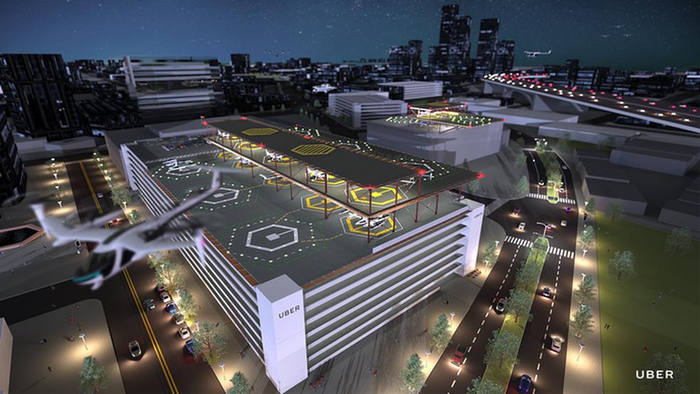 Projeto de Skyport, aeroporto para as aeronaves do uberAIR, táxi aéreo da Uber  — Foto:  Divulgação/Uber