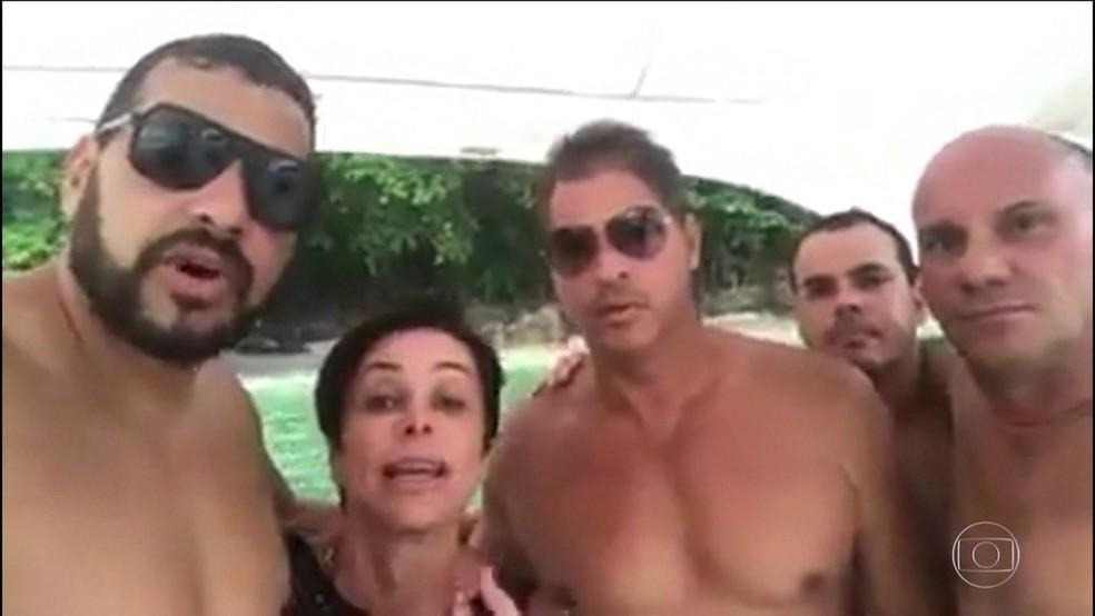 Em barco, Cristiane Brasil divulga vídeo para se defender — Foto: Reprodução
