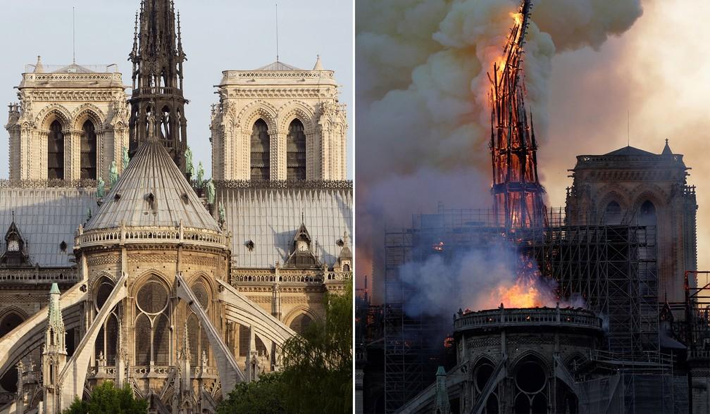 Comparativo mostra imagem de arquivo com o incêndio ocorrido nesta segunda-feira (15) na Catedral de Notre-Dame, em Paris — Foto: Manuel Cohen/AFP/Arquivo; Geoffroy Van Der Hasselt/AFP