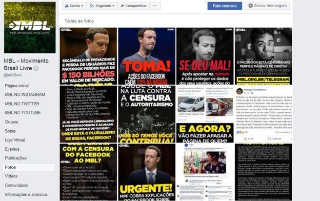 Ao longo do dia de hoje, a página do MBL no Facebook dedicou-se a denunciar a suposta 'censura' do Facebook (Foto: Reprodução/Facebook via BBC News Brasil)