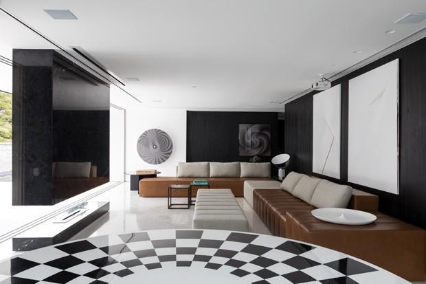 Décor do dia: sala de estar com decoração geométrica  (Foto:  Fran Parente)