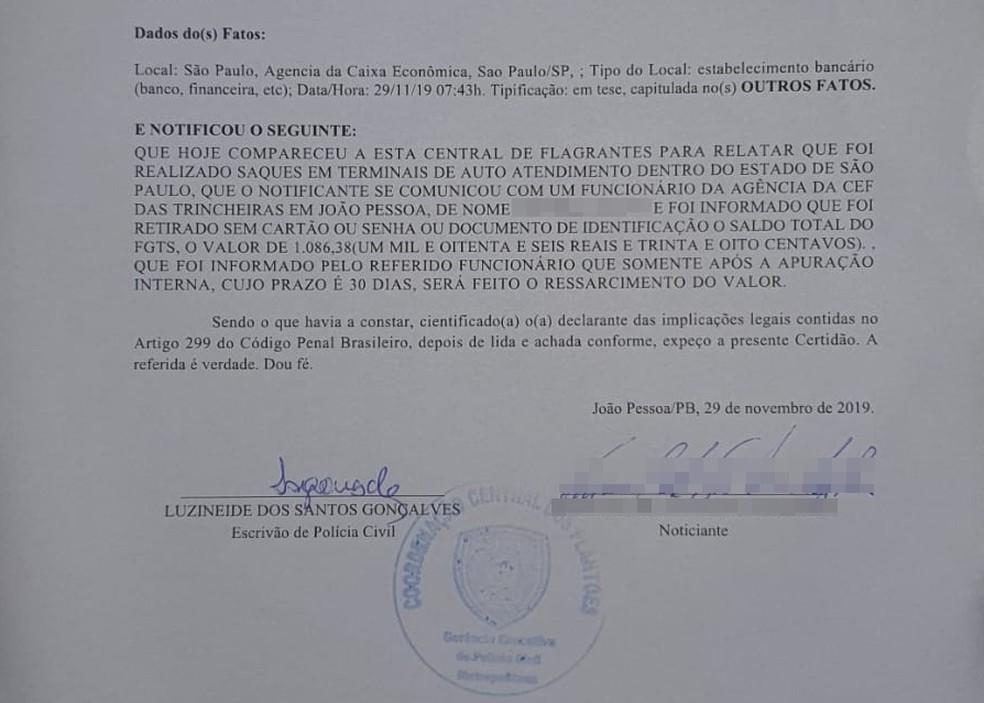 Boletim de Ocorrência foi registrado pela vítima na Central de Flagrantes da Polícia Civil em João Pessoa — Foto: Arquivo Pessoal