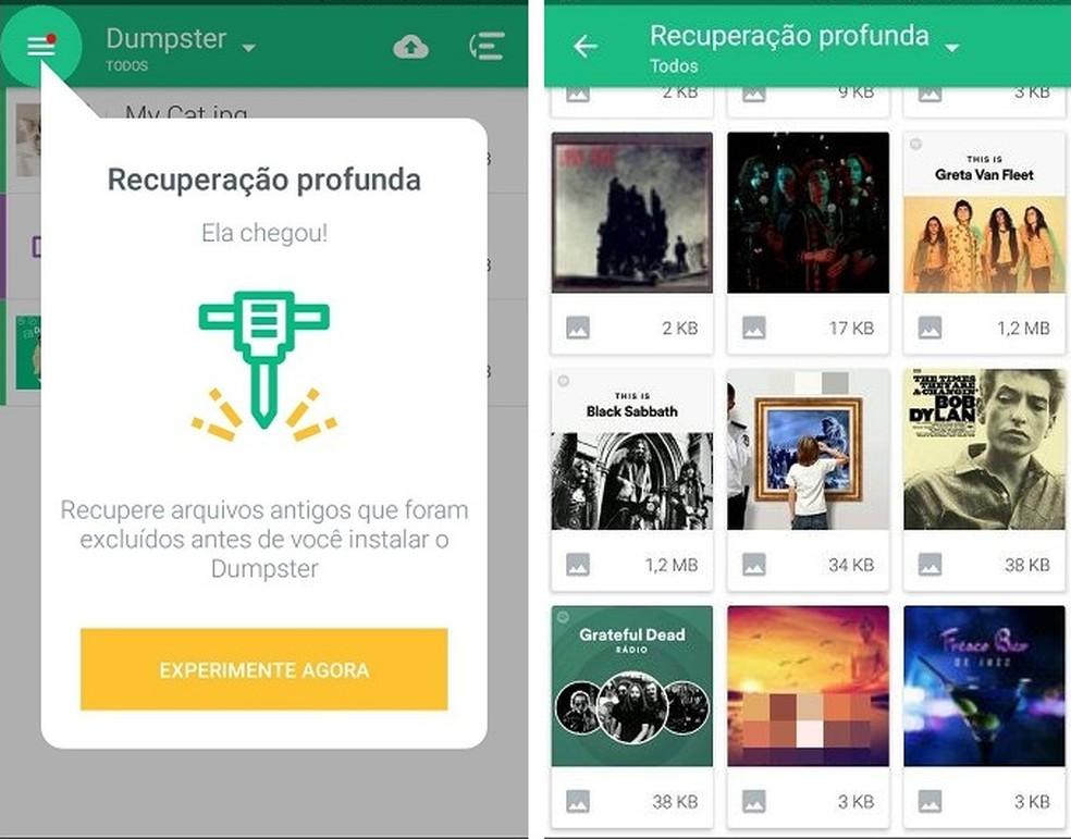 A principal função do Dumpster é servir como uma lixeira alternativa no Android — Foto: (Reprodução/Maria Dias)
