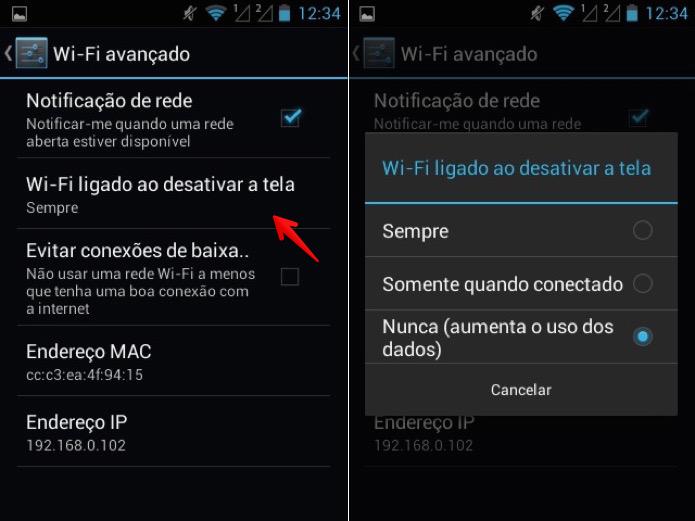 Wi-Fi permanecerá ativo apenas quando o celular estiver sendo usado (Foto: Reprodução/Helito Bijora)