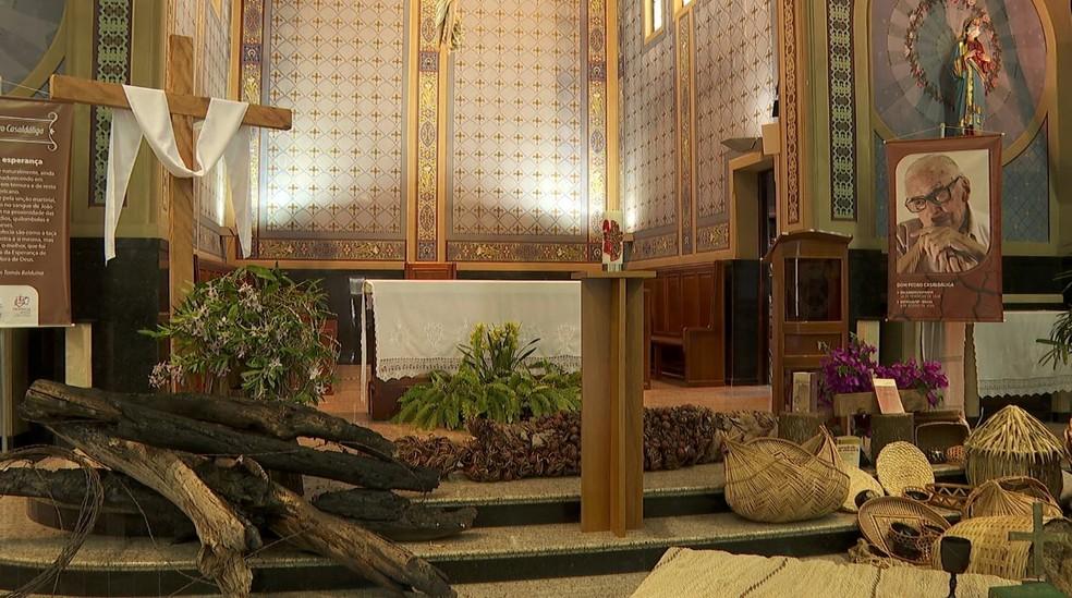 Capela onde foi realizado velório de Dom Pedro Casaldáliga em Batatais (SP) — Foto: Reprodução/EPTV