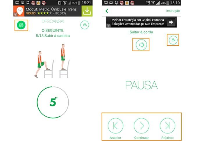 No menu é possível pausar o exercício, pular para a ação seguinte, desligar áudio, dentre outros (Foto: Reprodução/Barbara Mannara)