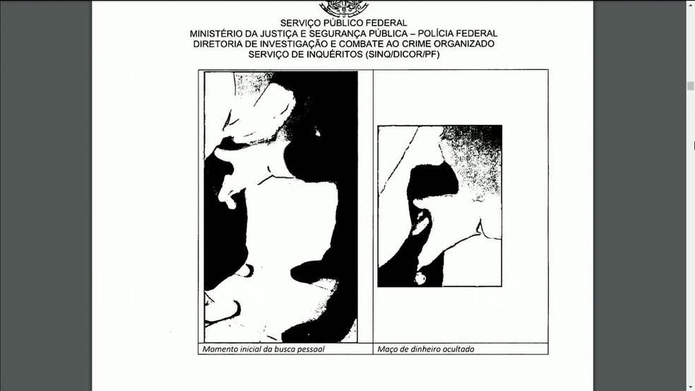 Imagem do relatório da PF mostra momento em que dinheiro foi encontrado na cueca do senador Chico Rodrigues — Foto: Reprodução/PF