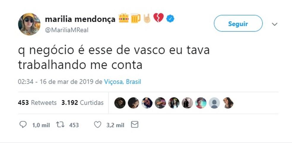 """Marilia Mendonça pergunta sobre """"Vasco"""" — Foto: Reprodução"""