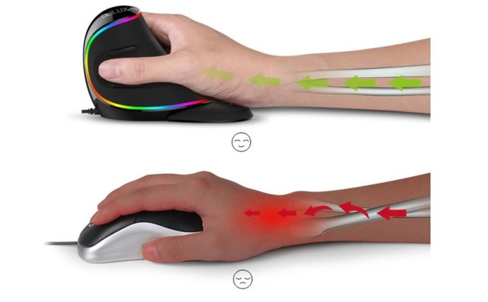 Pulso protegido: Delux Vertical Mouse tem formato ergonômico (Foto: Divulgação/Delux Mouse)