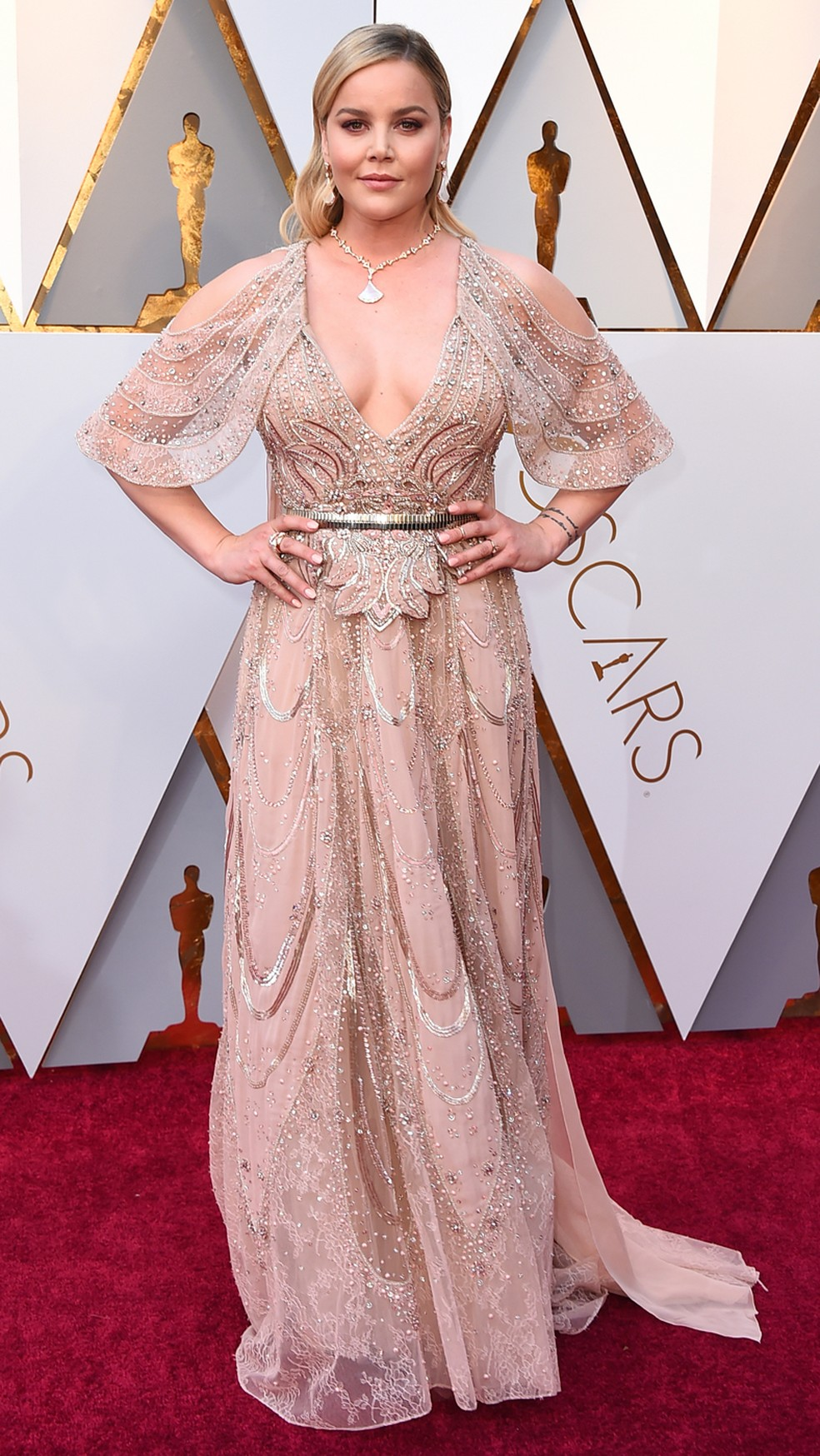 A atriz Abbie Cornish, de 'Três anúncios para um crime', chega ao Oscar 2018 (Foto: Jordan Strauss/Invision/AP)
