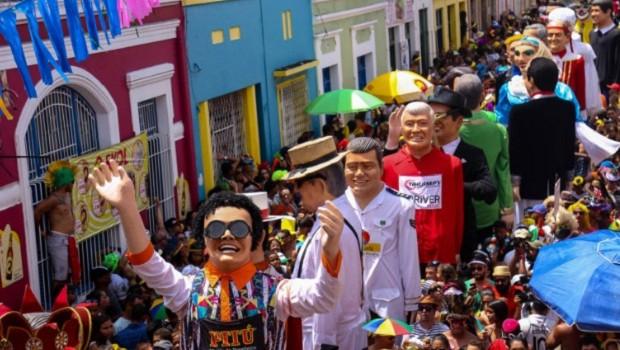 Olinda- PE, Brasil-Bonecos gigantes na terça-feira de carnaval, em Olinda (Foto: Thiago Bunzen / Prefeitura de Olinda)
