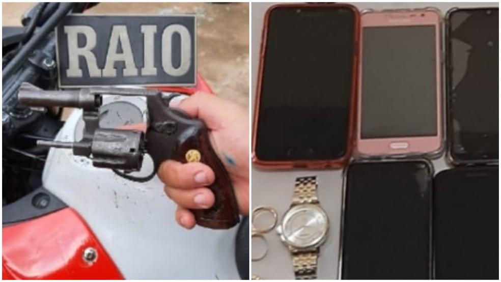 Arma e celulares apreendidos pela polícia após prisão de casal em São Luís — Foto: Divulgação/Polícia Militar