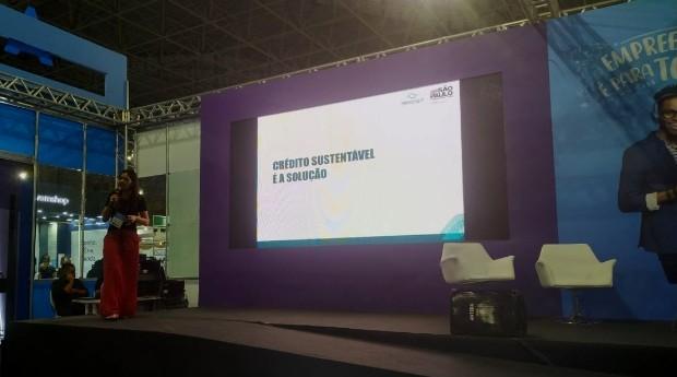 Ana Paula Shuay, superintendente de negócios e operações da Desenvolve SP, durante palestra na Feira do Empreendedor 2019 (Foto: Redação)
