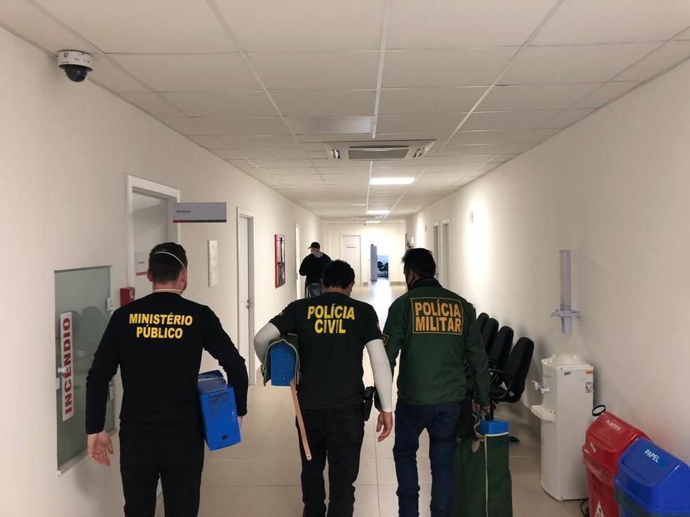 Segunda fase da operação cumpriu dois mandados de prisão preventiva e 11 de busca e apreensão na manhã desta quinta-feira — Foto: Ministério Público de Santa Catarina/Divulgação