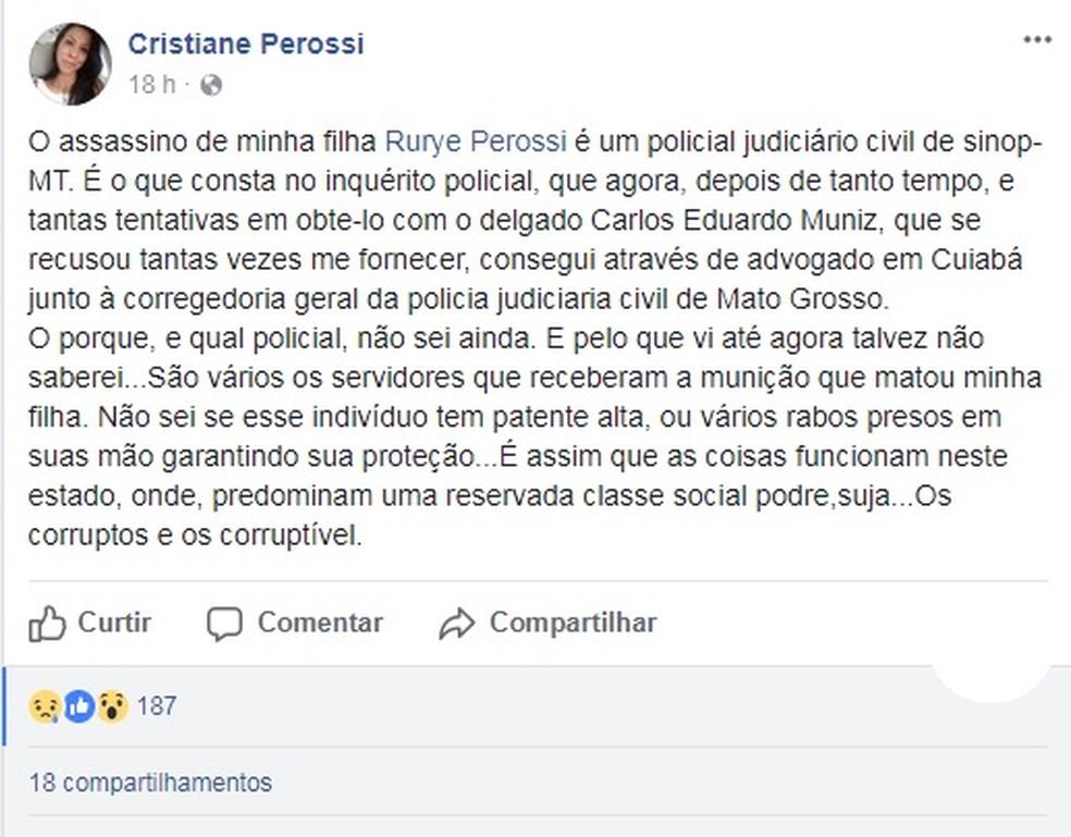 Mulher diz em postagem que teve acesso ao inquérito que apurou a morte da filha (Foto: Facebook/ Reprodução)