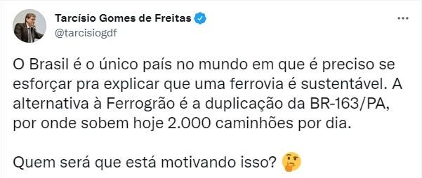 tuite-tarcisio-ferrograo (Foto: Reprodução/Twitter)