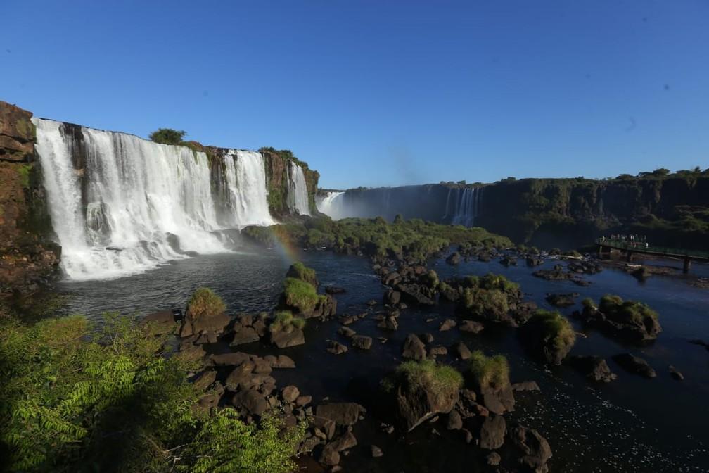 Volume das quedas d'água está abaixo do normal, em Foz do Iguaçu — Foto: Nilton Rolin / Cataratas do Iguaçu