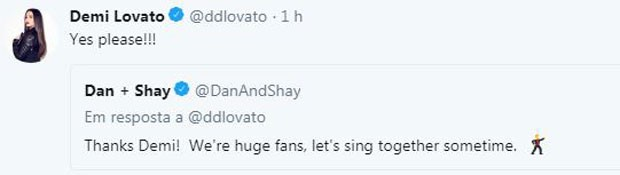 Demi conversa com Dan + Shay no Twitter (Foto: Reprodução/Twitter)