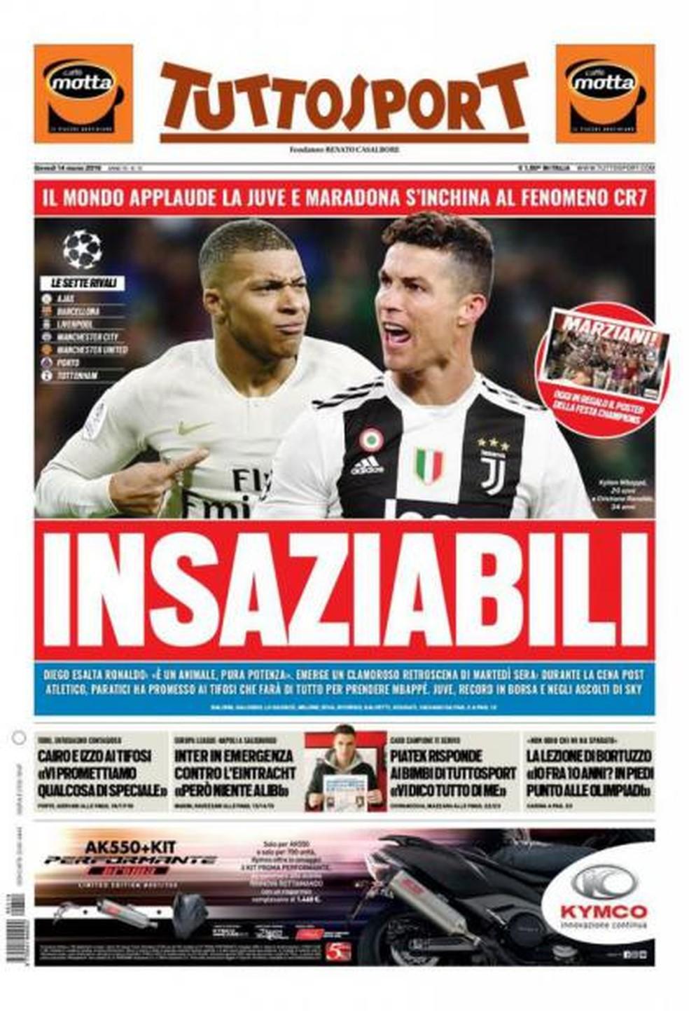 Jornal diz que Juventus quer Mbappé ao lado de Cristiano Ronaldo — Foto: Reprodução