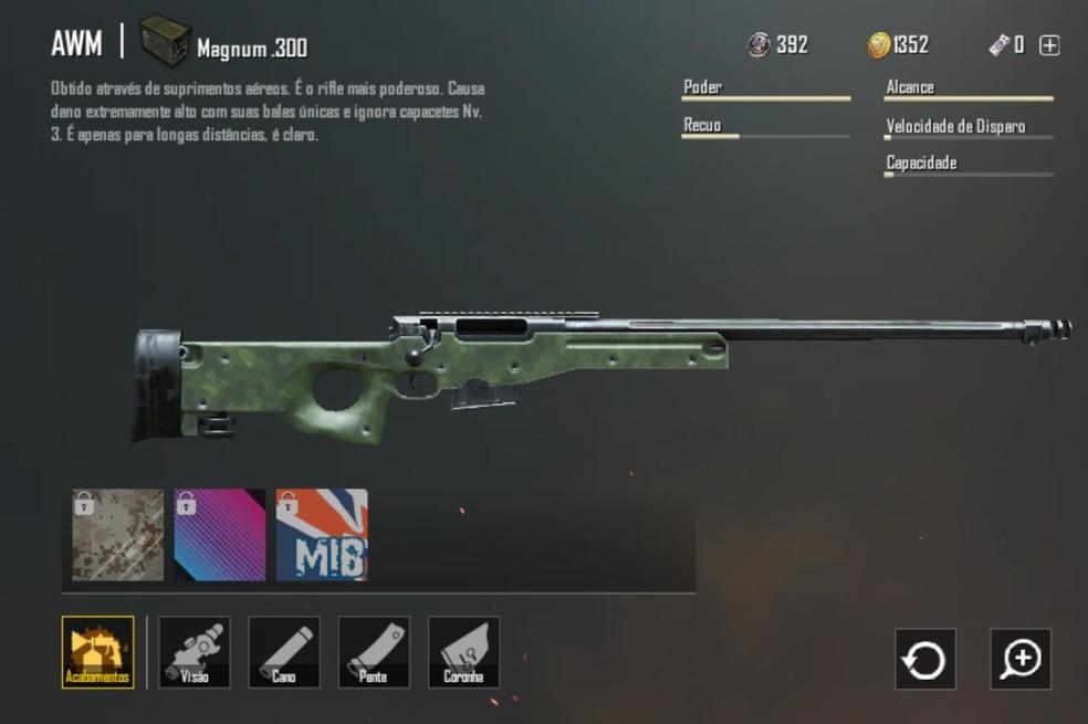 Sniper AWM em PlayerUnknown's Battlegrounds — Foto: Reprodução/Bruno Carvalho