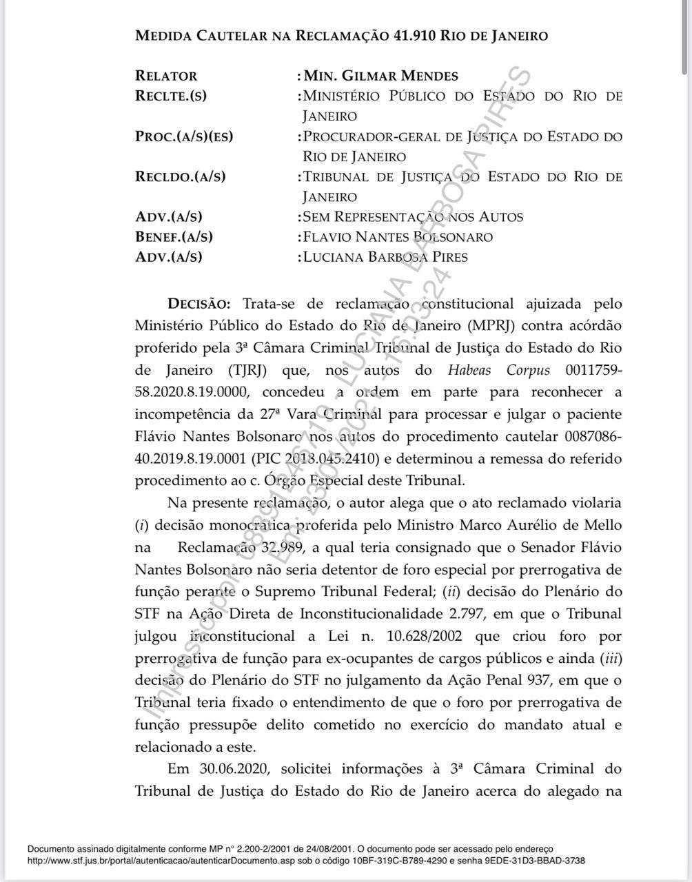 O ministro Marco Aurélio tira de pauta processo contra Flávio Bolsonaro, que seria julgado segunda no Rio