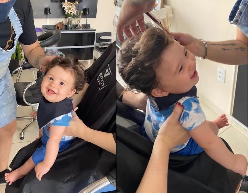 Bebê dá gargalhadas enquanto corta o cabelo e viraliza na web: 'É muito sorridente', diz mãe