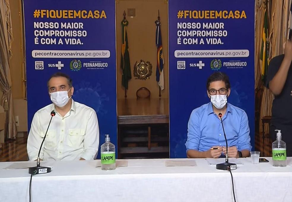 Em coletiva de imprensa, secretários falaram sobre retomada econômica em Pernambuco — Foto: Reprodução/Governo de Pernambuco