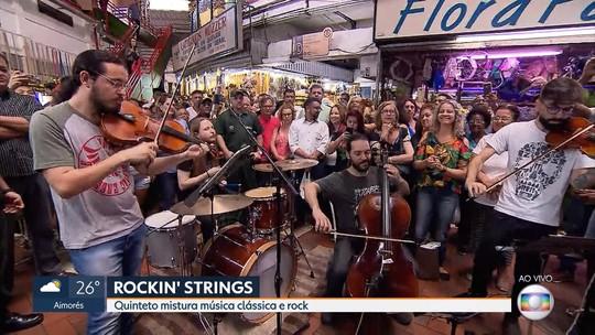 Grupo Rockin' Strings apresenta clássicos do rock no Mercado Central