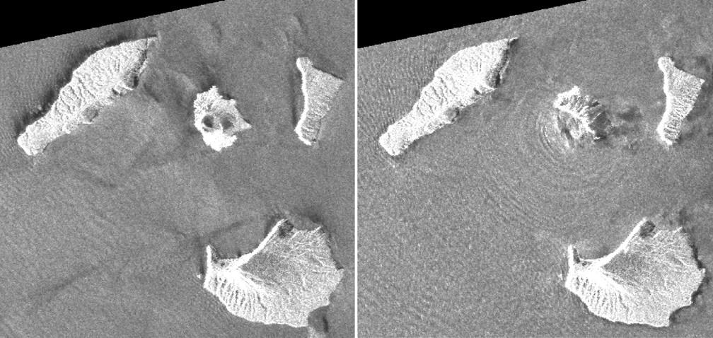 Imagens de radar do satélite JAXA's ALOS-2 mostram a ilha vulcânica Anak Krakatau em 20 e 24 de dezembro, antes e depois da erupção. — Foto: Geospatial Information Authority of Japan via AP