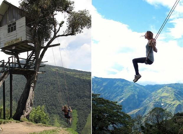 Balanço do Fim do Mundo, La Casa Del Arbol, Equador - O brinquedo é preso a duas cordas em uma árvore na beirada de um penhasco de 2.660 metros de altura. Balançar ali deve ser indescritível e ainda é possível observar o vulcão Tungurahua (Foto: Reprodução/BlogBlux)
