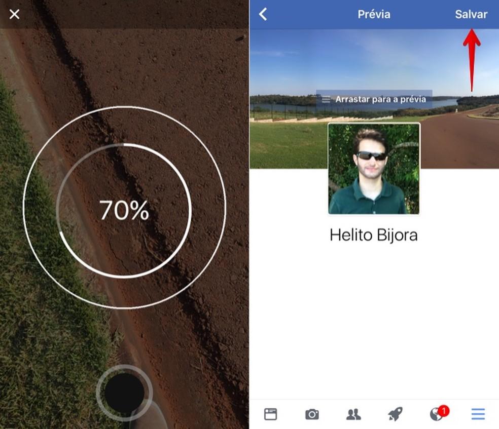 Usando foto em 360 graus na capa do Facebook (Foto: Reprodução/Helito Bijora)