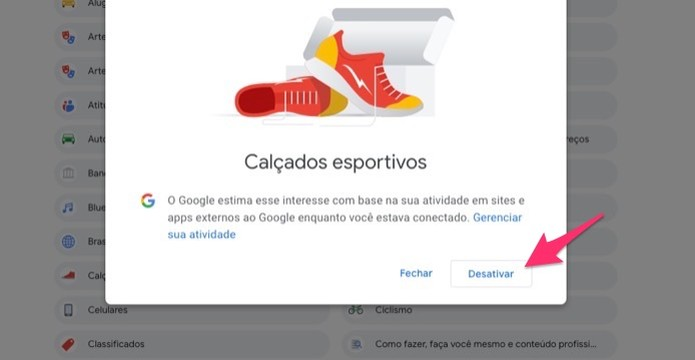 Ação para desativar um termo utilizado para oferecer anúncios para um usuário do Google (Foto: Reprodução/Marvin Costa)
