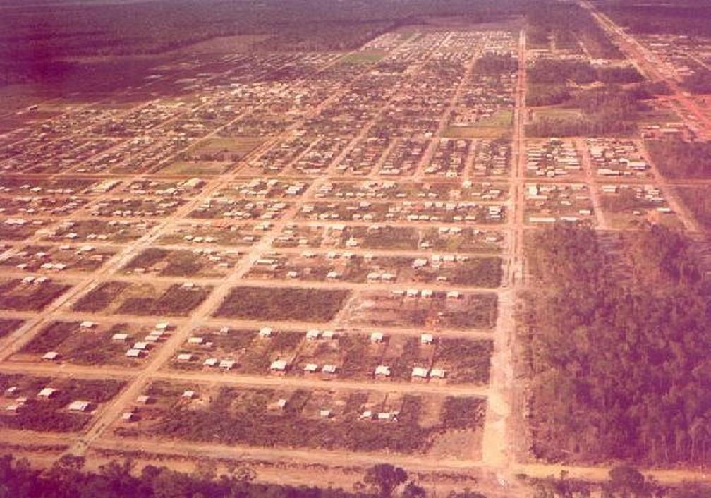 Foto aérea mostra como a cidade era nos anos 70 — Foto: Divulgação