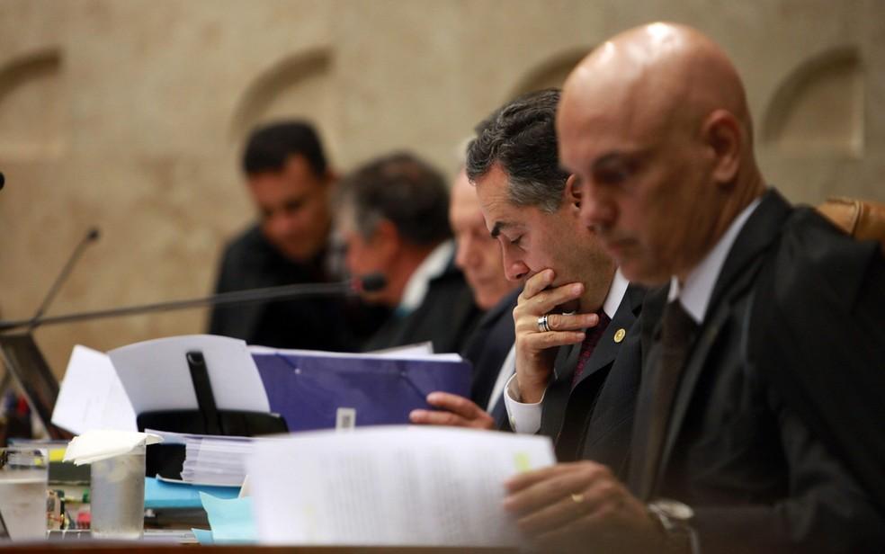 Ministros do STF durante julgamento do habeas corpus de Lula (Foto: Antônio Araújo/Trilux/Estadão Conteúdo)